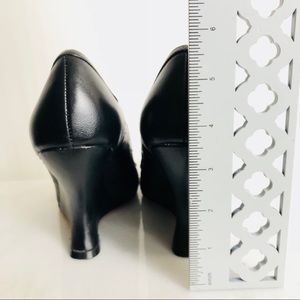 White House Black Market Shoes - WHBM Black Peep-Toe Wedges w/Bow Size 7